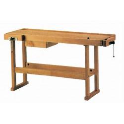 Etabli en bois de menuisier 1,50m + presse + 1 tiroir 13150