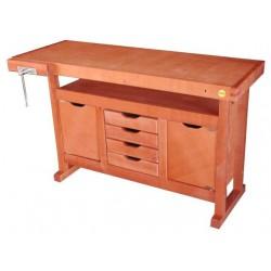 Etabli de menuisier en bois 1,20m à caisson + 4 tiroirs 13112