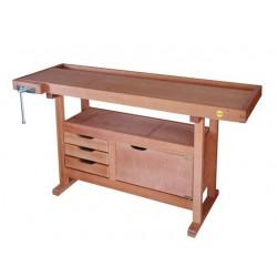 Etabli en bois 1,50m à caisson + presse + 3 tiroirs + porte 13152