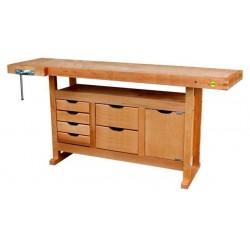 Etabli de menuisier en bois 1,75m à caisson + presse + 6 tiroirs