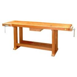 Etabli de menuisier en bois 2,00m + 2 presses + tiroir 13201