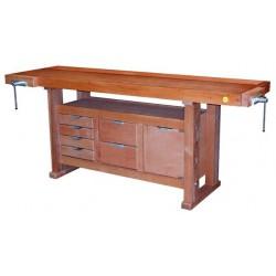 Etabli de menuisier en bois 2,00m à caisson + 2 presses + 6 tiroirs 13202